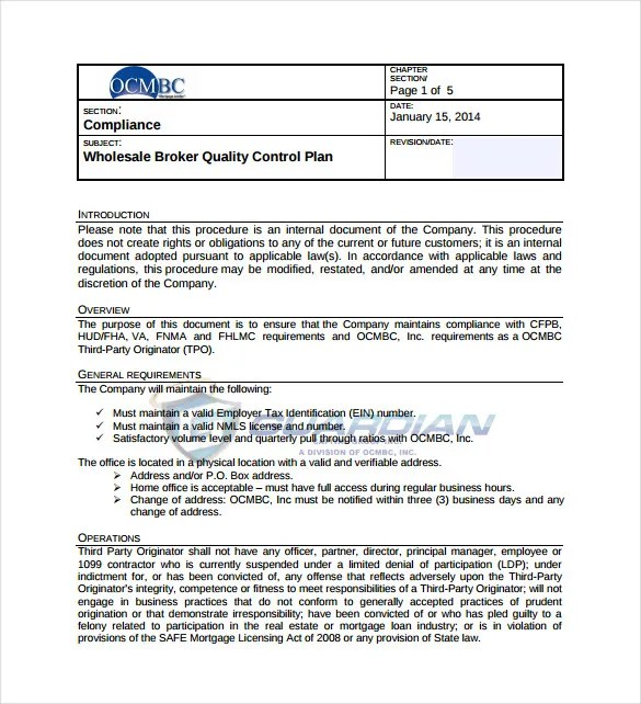 10+ Quality Control Plan Templates \u2013 Free Sample, Example, Format