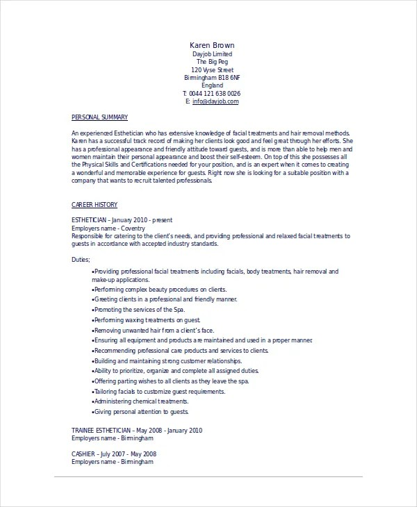 Esthetician Resume Template - 5+ Free Word, Documents Download - Esthetician Resume