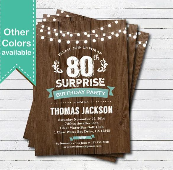 80th birthday party invitations templates