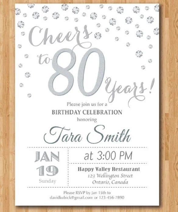 80th birthday invitation templates free