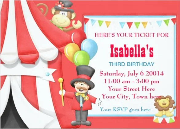 26+ Carnival Birthday Invitations \u2013 Free PSD, Vector EPS, AI, Format - Circus Party Invitation