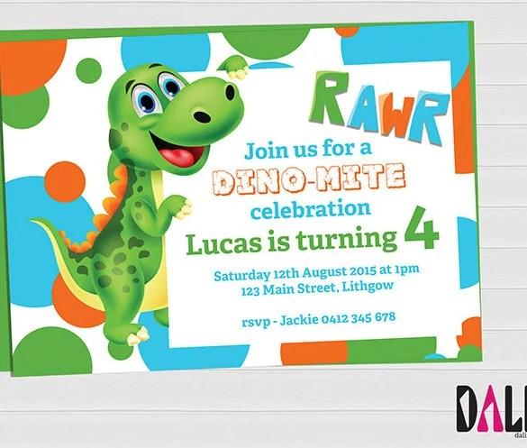 15+ Dinosaur Birthday Invitations \u2013 Free PSD, Vector EPS, AI, Format