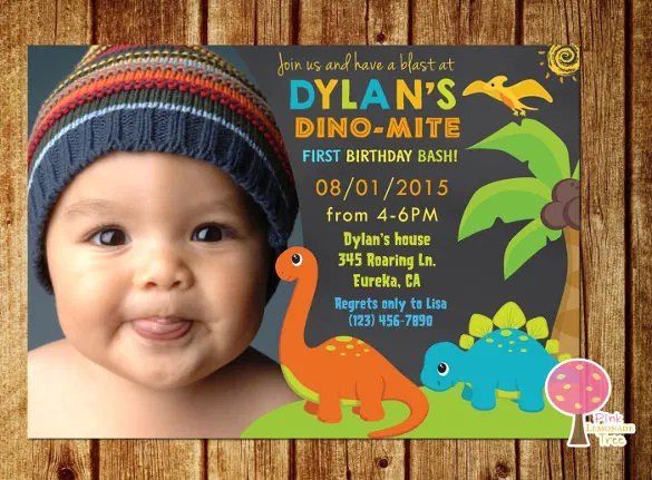 15+ Dinosaur Birthday Invitations u2013 Free PSD, Vector EPS, AI - free first birthday invitation template