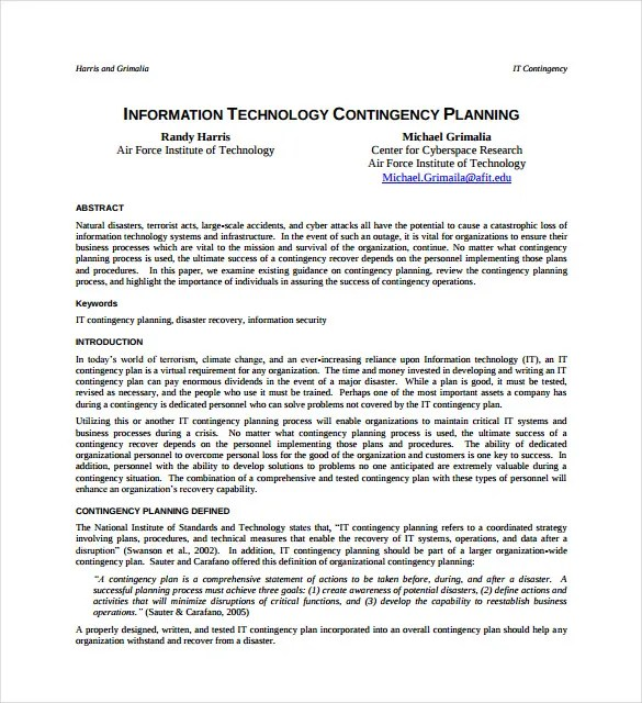 Contingency Plan Template Doc | Written Sponsorship Agreement