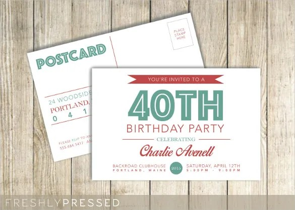 26 Postcard Birthday Invitation Templates Psd Word