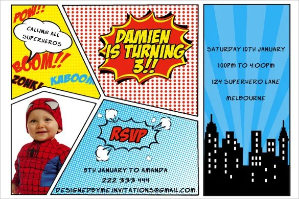 21+ Superhero Birthday Invitation Templates u2013 Free Sample, Example - invitations samples for birthday