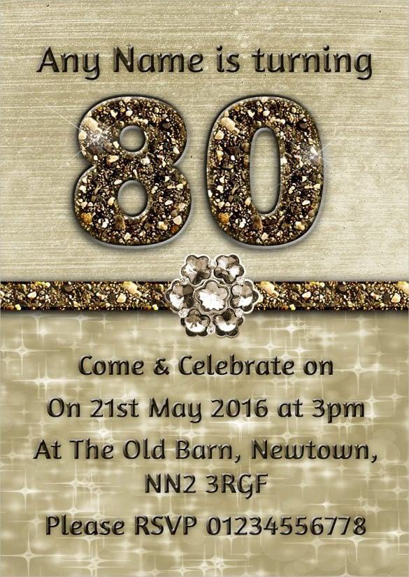 26+ 80th Birthday Invitation Templates \u2013 Free Sample, Example - free invitation layouts
