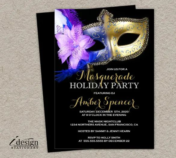 masquerade invitations template free