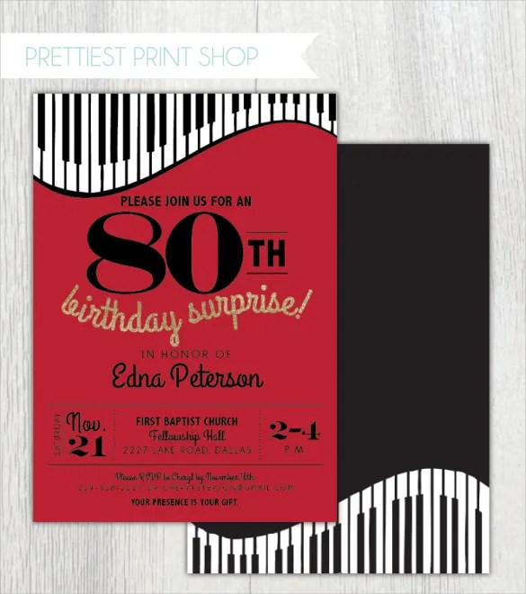 26+ 80th Birthday Invitation Templates \u2013 Free Sample, Example - birthday invitation model