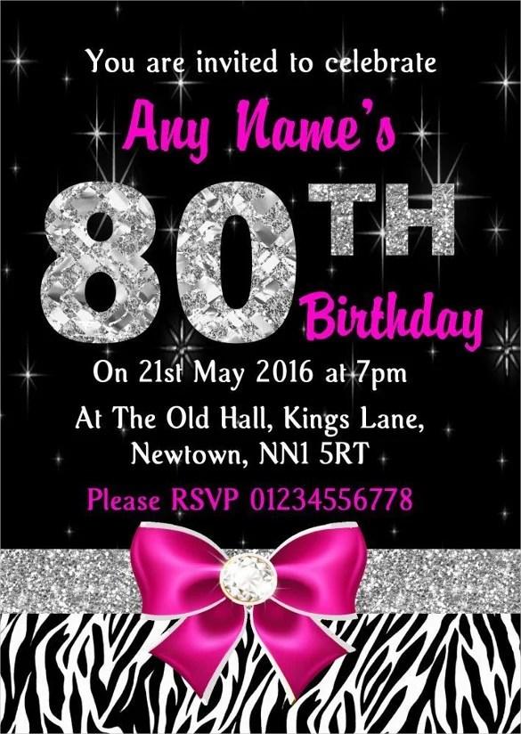 26+ 80th Birthday Invitation Templates \u2013 Free Sample, Example