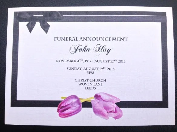 Death Announcement Card Templates - death announcement cards free