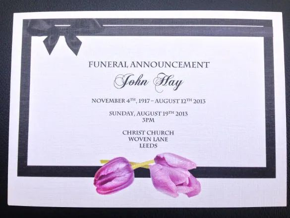 death announcement cards