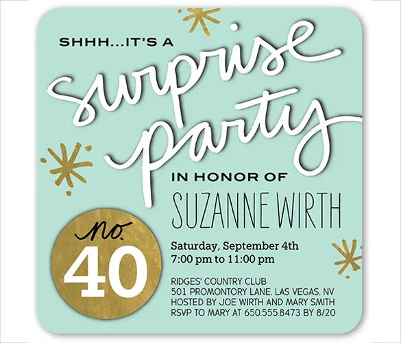 26+ Surprise Birthday Invitation Templates \u2013 Free Sample, Example - invitation birthday template