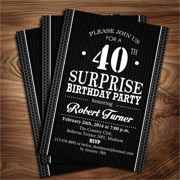 26+ 40th Birthday Invitation Templates \u2013 PSD, AI Free  Premium