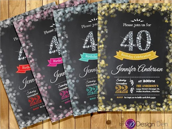25+ 40th Birthday Invitation Templates \u2013 Free Sample, Example - create invitation card free download