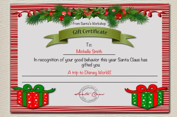 Christmas Gift Certificate Template - 16+ Word, PDF Documents - printable christmas certificates