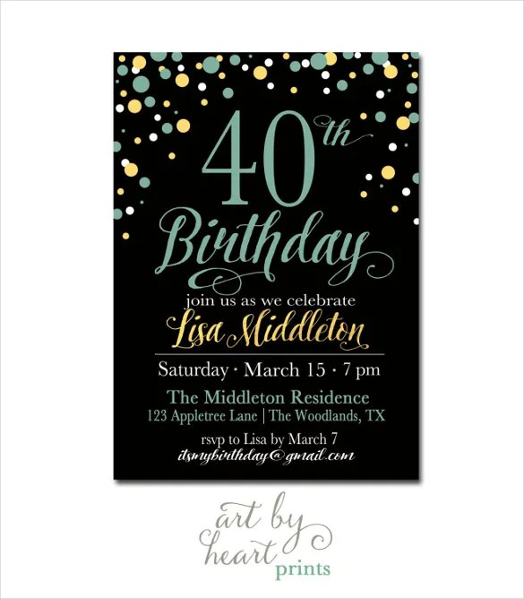 26+ 40th Birthday Invitation Templates \u2013 PSD, AI Free  Premium