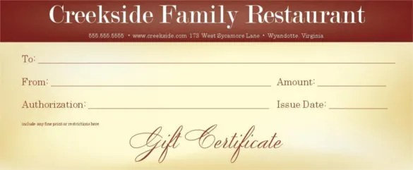 20+ Restaurant Gift Certificate Templates \u2013 Free Sample, Example - Lunch Voucher Template