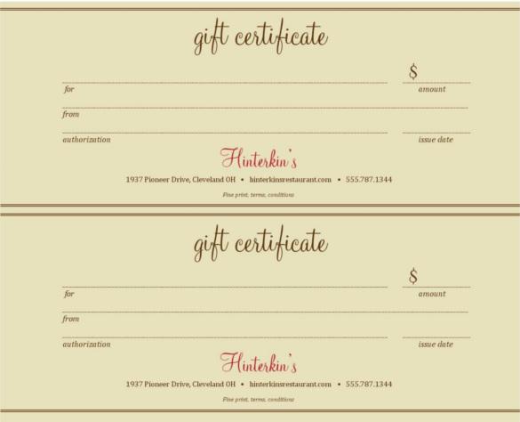 restaurant gift certificate template word - Onwebioinnovate - gift certificate word