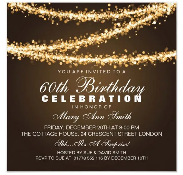 22+ 60th Birthday Invitation Templates u2013 Free Sample, Example - invitations samples for birthday