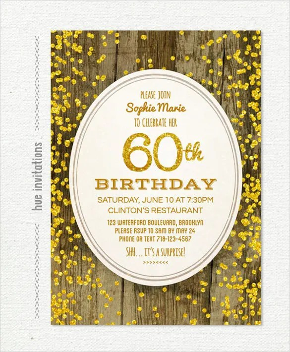26+ 60th Birthday Invitation Templates \u2013 PSD, AI Free  Premium