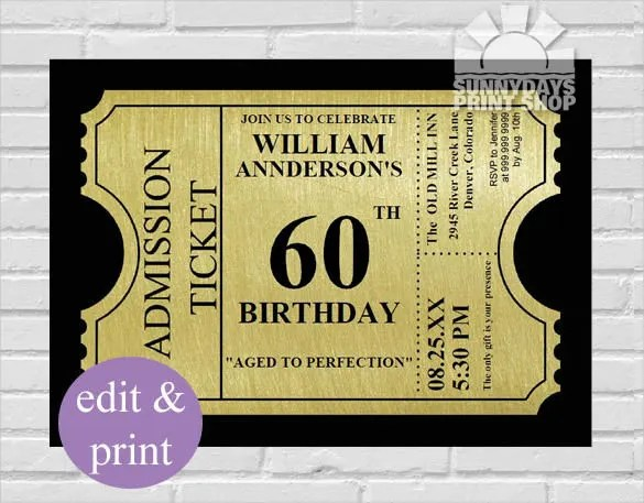 26 60th Birthday Invitation Templates Psd Ai Free