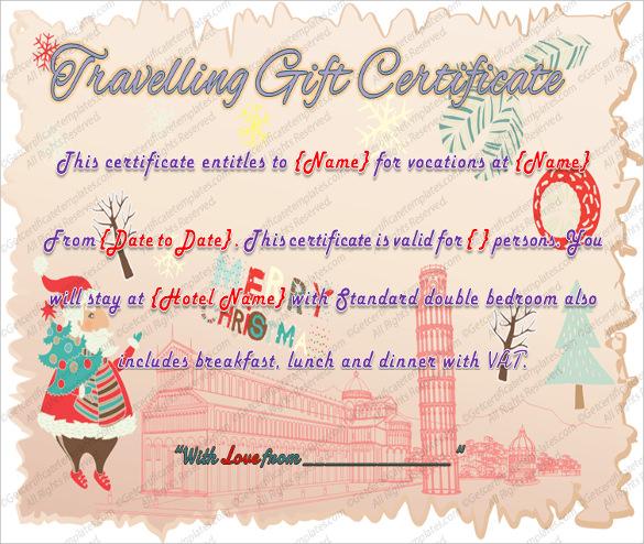 Gift voucher format resume templateasprovider 10 travel gift certificate templates u2013 free sample example gift voucher format yadclub Images