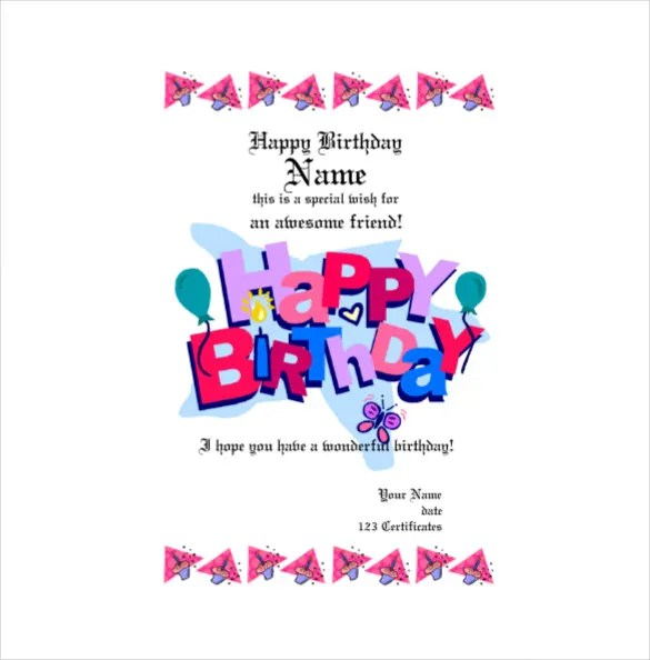 Free Birthday Gift Cards \u2013 gangcraftnet - sample birthday gift certificate template