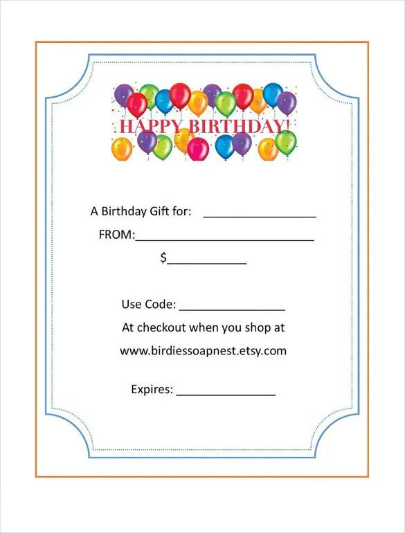 20+ Birthday Gift Certificate Templates - Free Sample, Example
