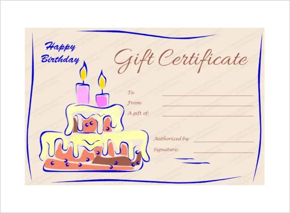 Birthday Gift Certificate Templates - 16+ Free Word, PDF, PSD - gift certificate free printable
