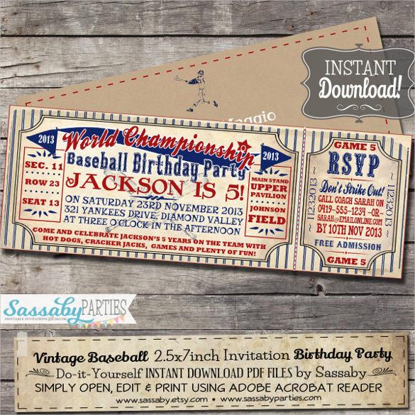 21+ Baseball Birthday Invitation Templates \u2013 Free Sample, Example - free printable ticket style invitations
