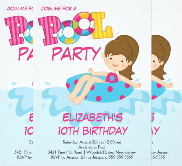 Pool Invitation For Teens Free Template \u2013 orderecigsjuiceinfo