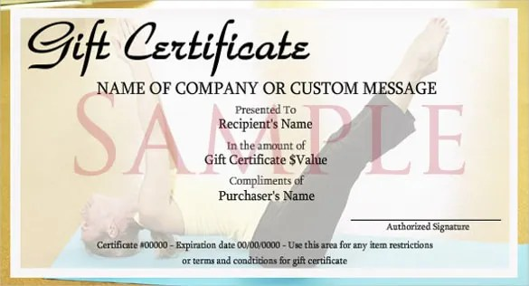 Fitness Gift Certificate Template  Curious George Birthday Ideas