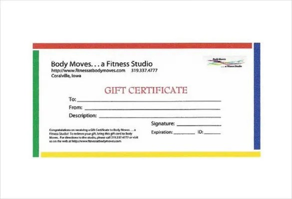 7+ Fitness Gift Certificate Templates \u2013 Free Sample, Example, Format - Christmas Certificates Templates For Word