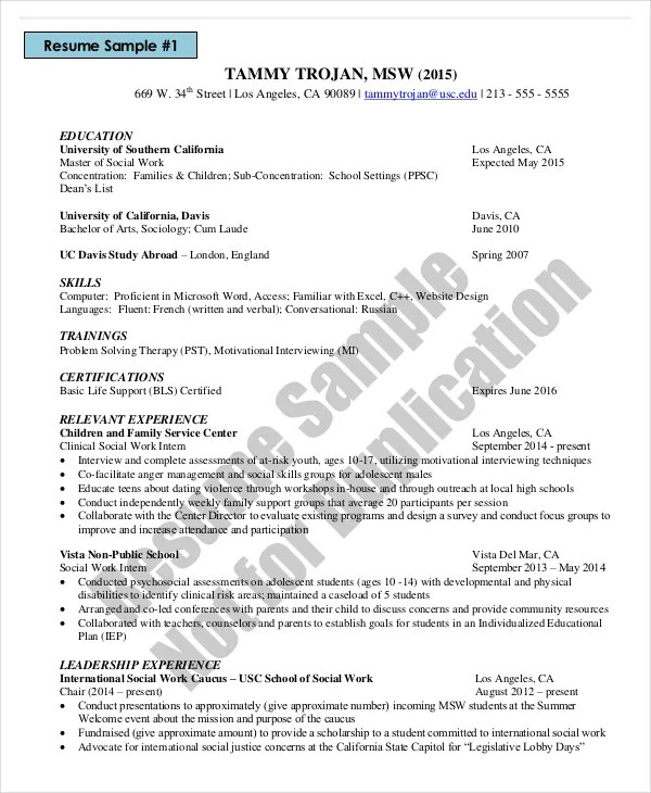 sample social work resume radiovkm - social work resumes
