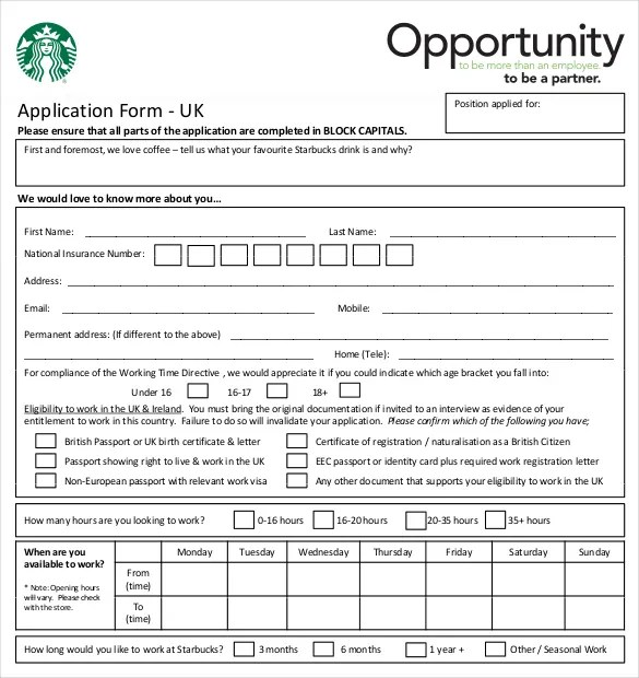 restaurant job application template