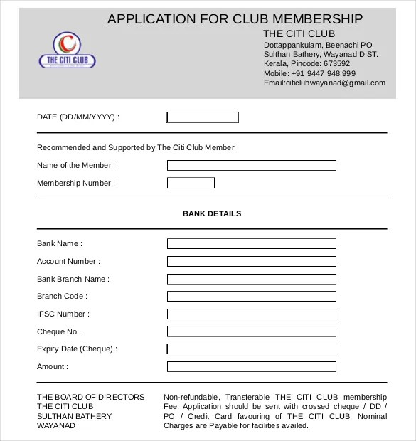 club membership form template 13 Brilliant Ways To