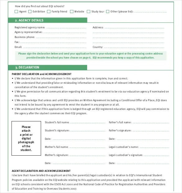 11+ School Application Templates - PDF, DOC Free  Premium Templates - form for school admission