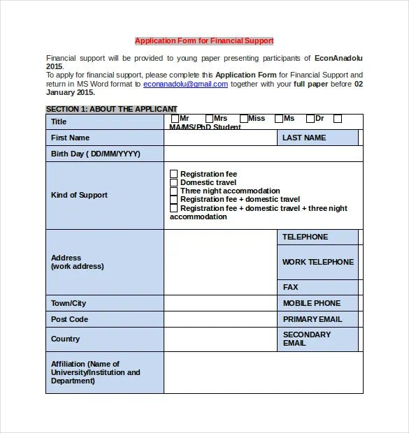 sport registration form template