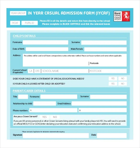 admission form school hitecauto - format of admission form
