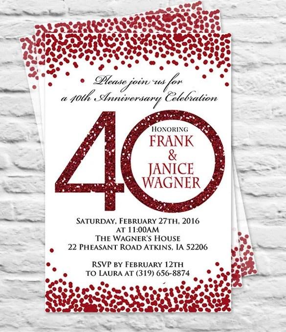 Anniversary Invitation Red Fairy Lights Th Ruby Wedding Anniversary