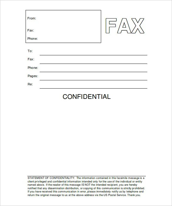 Confidential Fax Cover Sheet \u2013 8+ Free Word, PDF Documents Download - Fax Cover Sheet For Word