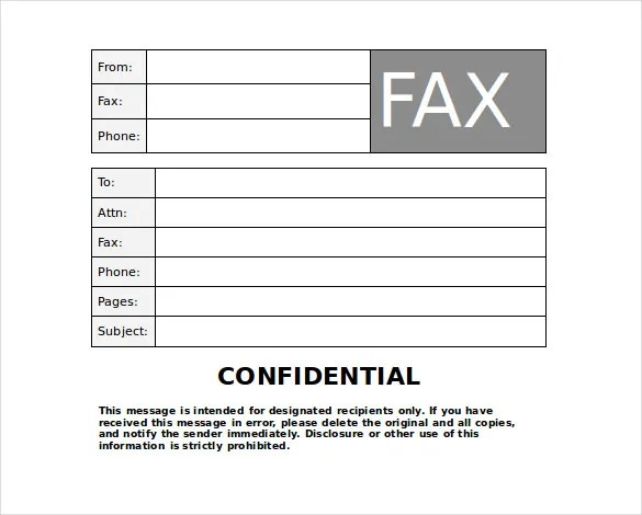 Confidential Fax Cover Sheet \u2013 8+ Free Word, PDF Documents Download - Blank Fax Cover Sheet