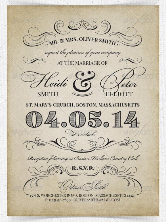 26+ Vintage Wedding Invitation Templates \u2013 Free Sample, Example - free invitation templates
