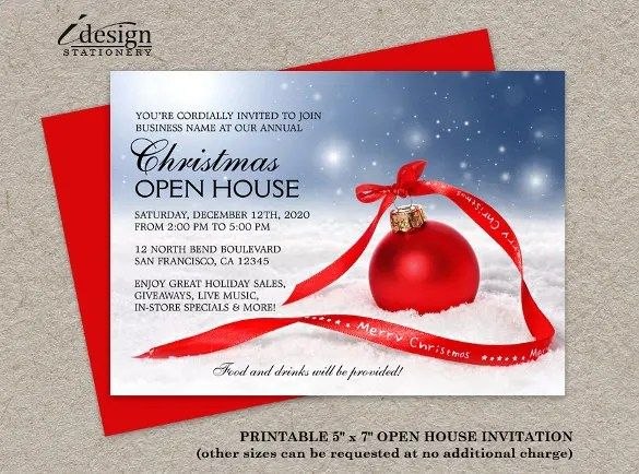 Free Christmas Open House Invitation Template \u2013 Merry Christmas And