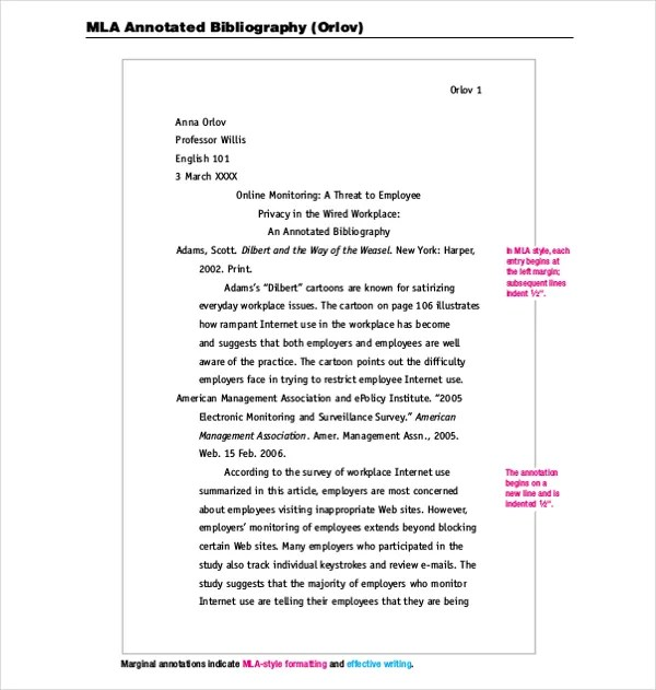MLA Annotated Bibliography Template \u2013 10+ Free Word, PDF Documents - Mla Format For Word