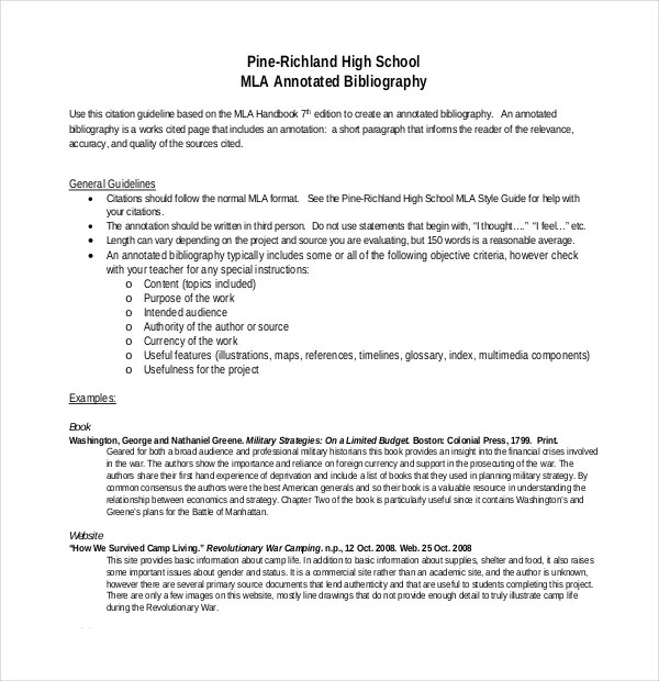 MLA Annotated Bibliography Template \u2013 10+ Free Word, PDF Documents