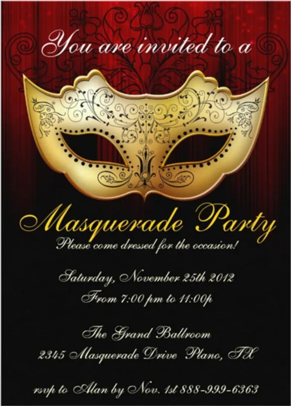 18+ Masquerade Invitation Templates u2013 Free Sample, Example, Format - invitation event sample