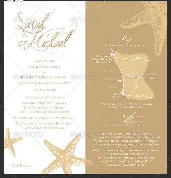 25+ Beach Wedding Invitation Templates \u2013 Free Sample, Example Format