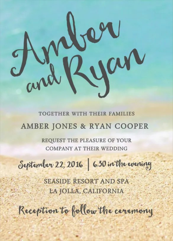 25+ Beach Wedding Invitation Templates \u2013 Free Sample, Example Format